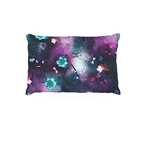 Kess InHouse Fernanda Sternieri Fluo Jungle  Fleece Dog Bed, 50 by 60 , Purple Black