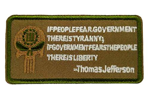 Thomas Jefferson Embroidered Patch Tactical Military Morale Biker Motorcycle The Bill of Rights Liberty Series Iron or Sew-on Emblem Badge Appliques Application Fabric Patches]()