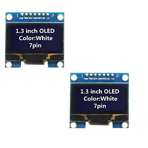 WINGONEER 2Pcs 1.3 Inch SPI 128x64 SSH1106 OLED LCD Display LCD Module for Arduino AVR PIC STM32 - White -