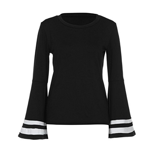 Manches Noeud Tops à Claudine shirt Longues blanc LMMVP m T noir Chemisier Blouse Femme Col Arc Trompette 0xt8fpq