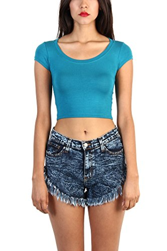 Love Melrose Womens Basic Short Sleeve Scoopneck Crop Top L Teal