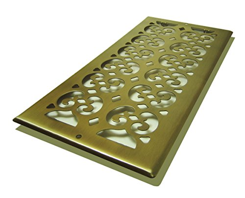 Brass Wall Register (Decor Grates SP614R-A Scroll Plated, 6-Inch by 14-Inch, Antique Brass)