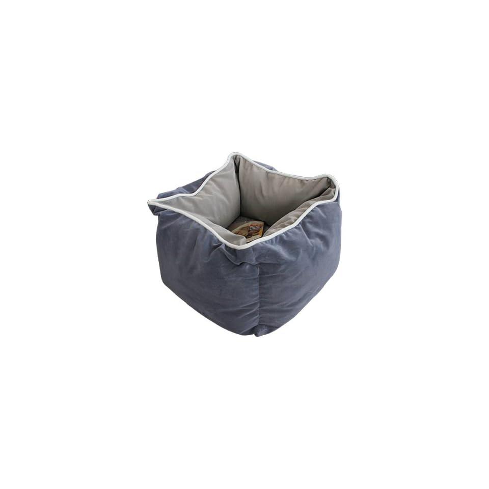 Dark Grey Luxury Square Warm Unique Soft Pet Dog Cat Puppy Bed,S size