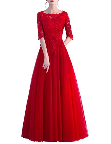 Tulle Sleeves Long A Lace High Dresses Evening Low Prom Bridal Line With Women Dora Formal Gowns Red aBq46Xa