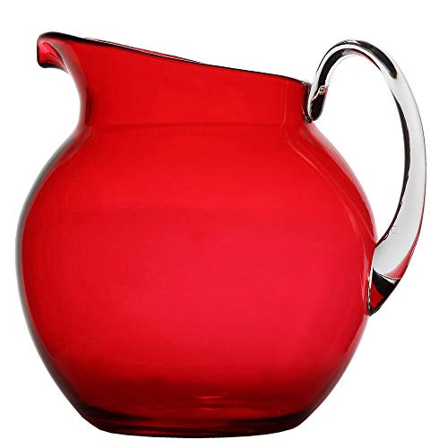 Lily's Home Shatterproof Plastic Indoor Outdoor Pitcher Large Capacity 110 Ounce (Red)