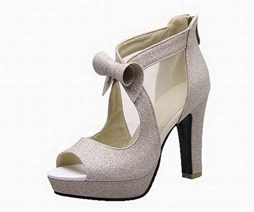 EGHLH006478 Open Blend Women's Materials Sandals Toe WeiPoot High Zipper Gold Heels 7xYq1dzI