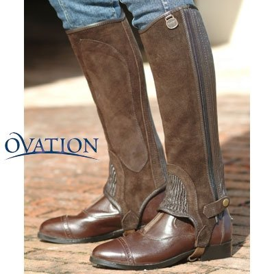 English Chaps Riding - Ovation - Child Suede Ribbed Half Chaps , Black , B12-14