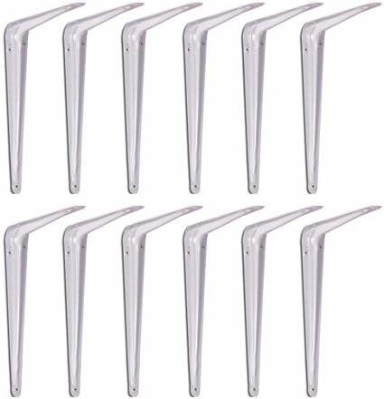 Wideskall Metal 5 x 6 inch Wall Corner Angle Shelving Shelf Brackets Pack of 4 White