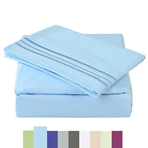 Bed Sheet Set - Microfiber Bedding Deep Pockets sheets 4 pc by Maevis (Light Blue,King) Christmas Lights Transparent Tumblr