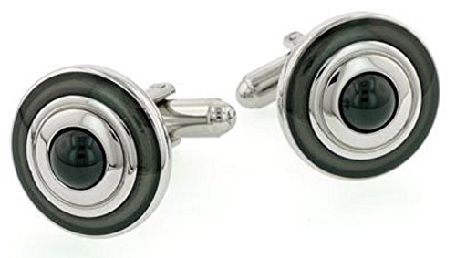 Black and Gray Dome Cufflinks