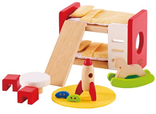 Hape Wooden Doll House Furniture Children's Room with Accessories - Wooden Kids Furniture