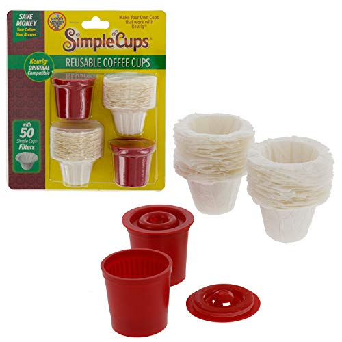 Reusable Coffee K-cup Cups (Set of 2) with 50 Filters - 100% Compatible with Keurig