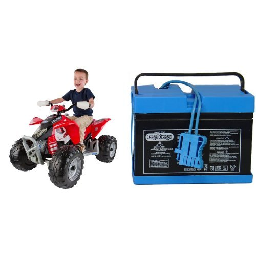 Peg Perego Polaris Red Outlaw With 12 Volt Battery Bundle