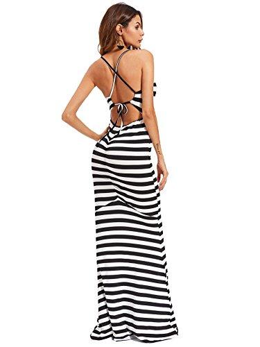 long black and white striped maxi dress - 4