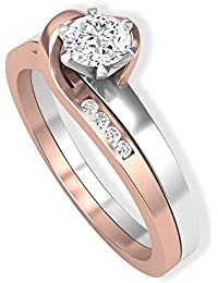 0.27 CT IGI Certified Solitaire Diamond Engagement Ring, Mix Metal Love Knot Bridal Wedding Anniversary Rings, Double Band Promise Matching Rings Sets