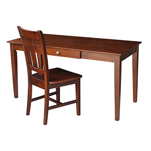 International Concepts Large Desk with Drawer and Chair, Espresso Finish by International Concepts