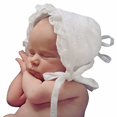 Huggalugs Baby Girls White Eyelet Lace Bonnet 3-6mo -