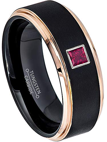 0.10ctw Solitaire Princess Cut Ruby Tungsten Ring