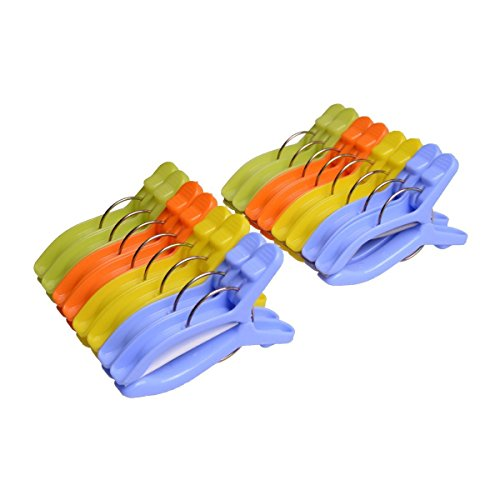 Ilyever 16 Pack Plastic Beach Towel Clips -Medium Size,4 Fun bright colors- Keep Your Towels,Clothes,Quilt,Blanket from Blowing Away or Sliding Down, 9 x 5.5cm (Towels Plastic)