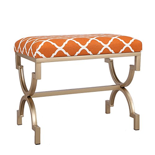 (Joveco Modern Upholstered Fabric Cushion Metal Frame Footrest Stool, 21 Inches Height Orange )
