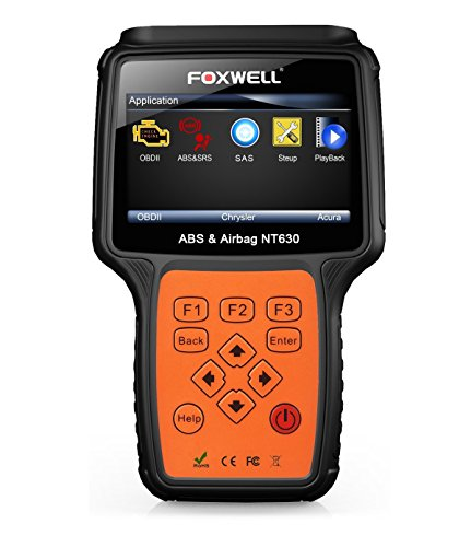 FOXWELL NT630 Plus Automotive ABS Scanner OBD2 Scan Tools OBD II + ABS SRS Diagnostic Scanner with Steering Angle Sensor Calibration Function ABS Air Bag Engline Light Reset (Mini Air Bag)