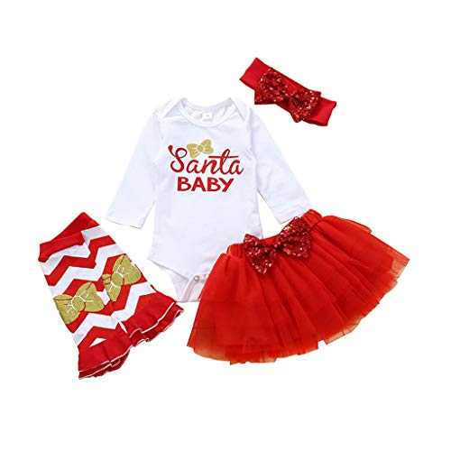 Oldeagle 4PCS Newborn Toddler Baby Girl Christmas Letter Romper Tops Tutu Skirt Hairband Socks Clothes Set