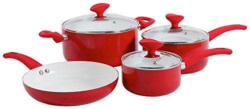 Sunbeam 107352.07 Acerra 7 Piece Aluminum Ceramic Cookware Set, Red/White