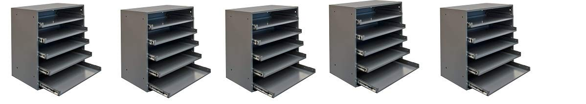Durham 305B-95 Cold Rolled Steel Heavy Duty Triple Track Bearing Slide Rack FOR 5 Large Compartment Boxes (5-(Pack))