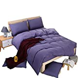 Dark Purple Duvet Cover Queen YAYIDAY Lightweight Soft Lavender Duvet Cover in Queen 3 Pcs Set Cotton Quality Brushed Microfiber Comforter Cover & Pillowcases Quilt Case Zipper Closure & Corner Ties Purple Bedding