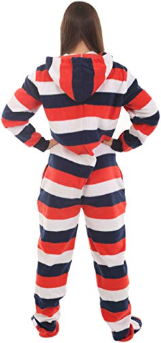 4d8c5636ca53 Funzee Adult Onesie Butt Flap PJ Red White Blue Footed Pajamas XS ...