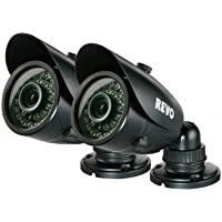 REVO RCBS30-3BNDL2N 700 TVL Indoor-Outdoor Bullet Surveillance Camera with 100 ft. Night Vision - 2-Pack - BNC Conversion Kits Included