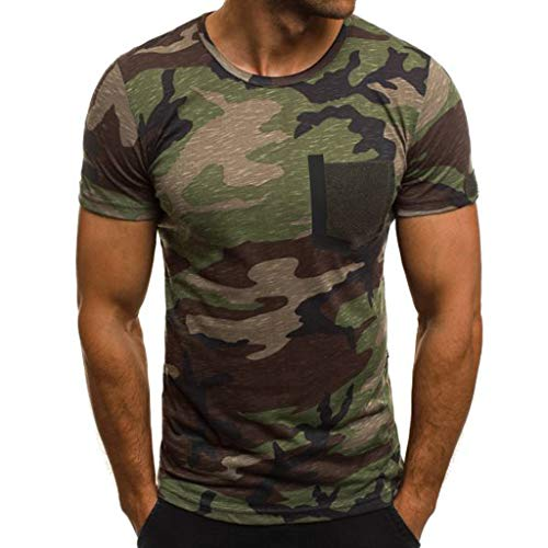 (PASATO for Mens New Summer Casual Camouflage Printing Muscle Tee Elastic Round-Neck Short Sleeve T-Shirt Top Blouse(Green,XL=US:L))