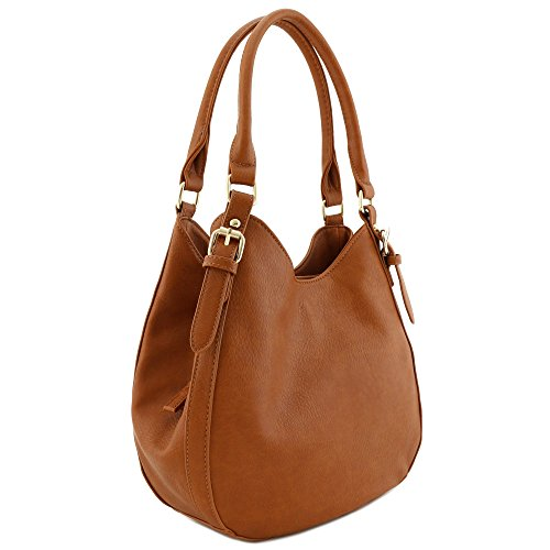 Light-weight 3 Compartment Faux Leather Medium Hobo Bag Brown - Hobo Dark Brown Handbags