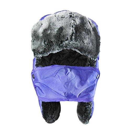 Unisex Kids Teens Girls Boys Faux Fur Winter Warm Trapper Hat with Ear Flaps,Windproof Face Mask Fleece Thermal Outdoor Snow Ski Russian Ushanka Cap Trapper Trooper Pilot Aviator Hat Headwear Blue One Size
