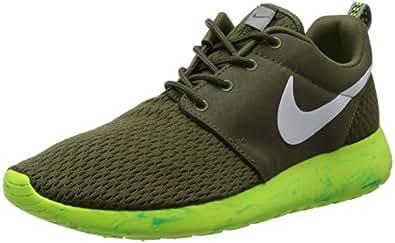 Nike Mens Rosherun Running Shoes Medium Olive/White/Volt Green 669985-200 Size 10