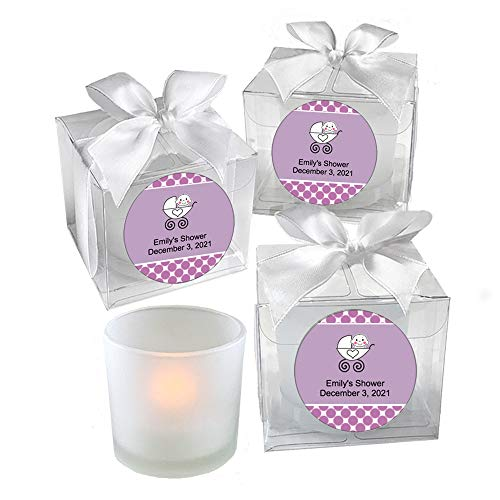 All Things Weddings, PERSONALIZED Votive Tealight Candle and Holder, Baby Carriage Design, Baby Shower Party Favors, Set of 40, Purple