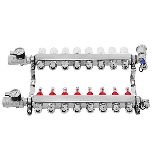 Mophorn PEX Manifold 8 Loop 1/2Inch PEX Radiant Floor Heating Set Stainless Steel Radiant Heat Manifold Automatic Air Vent (8 Loop)