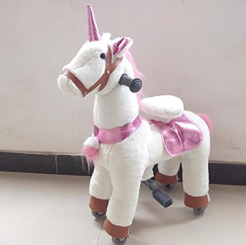 SMALL Trotting Action Pony Horse White Unicorn Ages 2-5 Boys & Girl Ride on Cycle Giddy Up Cowboy! by TODDLER TOYS