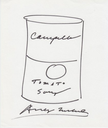ANDY WARHOL signed 6×8 Campbell Soup can sketch