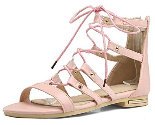 Women's Sandals/Bandage/Rear Zipper Closure/Roman Sandals/Flat Bottom, Shopping/Partying/School, 1cm, 34-41 Pink