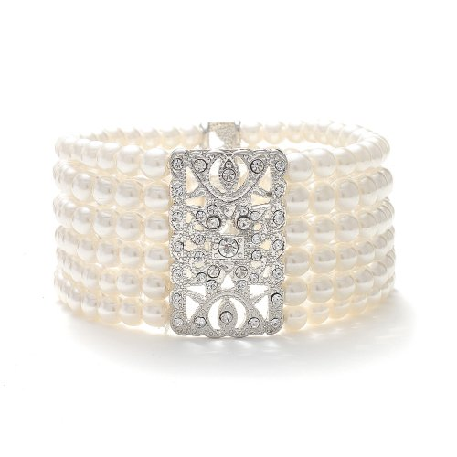 Mariell Ivory Glass Pearl and Crystal Vintage Stretch Bracelet with 6-Rows - Glamorous Art Deco - Pearl Ivory Antique