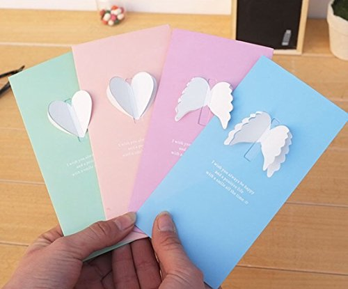 House Shaped Business Card (Colorful Universal All Occasion 3D Blank Greeting Cards Wing Heart Shaped including Envelopes-24pcs)