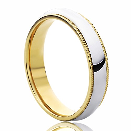 14K Yellow Gold & White Gold Wedding Band 4mm Milgrain Edges Domed Classy Comfort Fit Ring -Size: 10.5