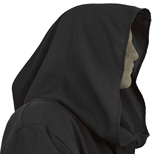 8019 - JEDI STAR WARS Wizard Monk Adult Costume Cloak Robe (1) S, Black) - Lord Sith Costume