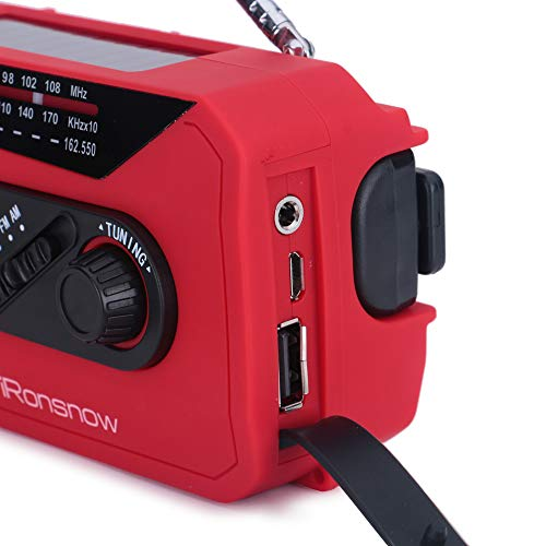 iRonsnow IS-366 Solar Emergency NOAA Weather Radio Hand Crank Windup WB/AM/FM Radios with Earphone Jack & Charge Indicator, 2000mAh Power Bank Phone Charger, Ultra Bright Flashlight for Camping (Red) by iRonsnow (Image #5)