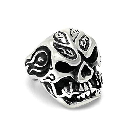 - Aooaz Stainless Steel Ring for Men Skull Head Ghost Punk Vintage Ring Black Hip Hop Rings Silver Black US 11