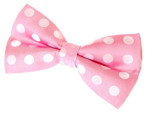 White / Pink Polka Dots (Retreez Two-Colour Polka Dots Woven Microfiber Pre-tied Bow Tie (Width: 5