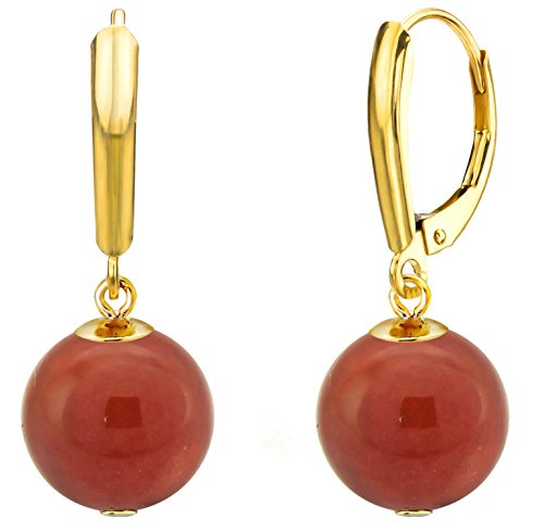 14k Yellow Gold 10mm Round Simulated Carnelian Lever-back Earrings