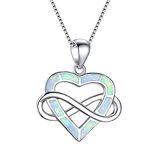 lightclub Romantic Women Love Heart Cross 8-Shape Pendant Necklace Faux Opal Inlay Jewelry - White Elegant Necklace for Women