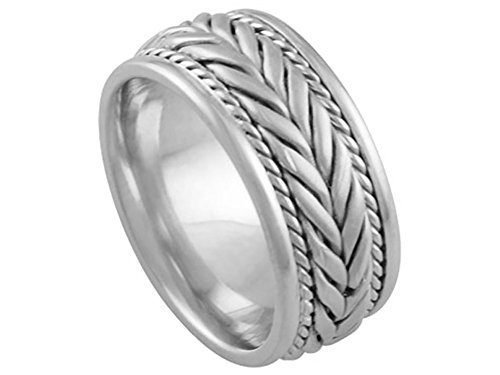 Men's 14k White Gold Braided 8mm Comfort Fit Wedding Band Ring size 9.75 975 Wedding Bands Ring